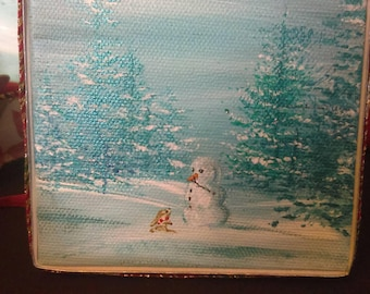 Snowman and Rabbit ornamental Christmas Decoration Acrylic on Canvas