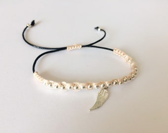 Beaded Macrame Bracelet, Silver, Black, Peach, Jewellery