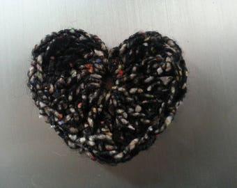 1 jolie coeur crocheté main laine et soie