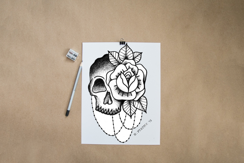 Money Skull Tattoo Design