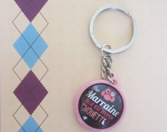 """Gift for godmother: Keychain """"my godmother she is super nice"""""""