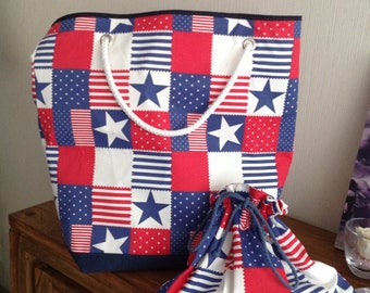 Matching beach bag and pouch American patterns