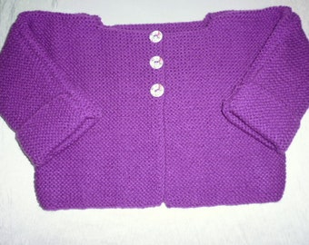 1 hand knitted baby vest/cardigan