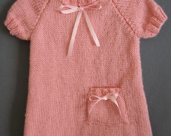 Hand knitted pink dress size 3 months
