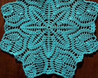 Handmade 30 cm, bright turquoise blue crochet lace doily