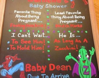 Custom Drawn Baby Shower Real Chalkboard Sign