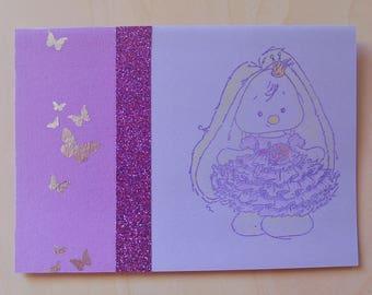 Card princess bunny purple all occasions