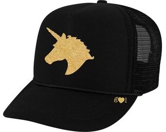 d0f45042d27 unicorn hat ADULT - glitter trucker hat (multiple colors)