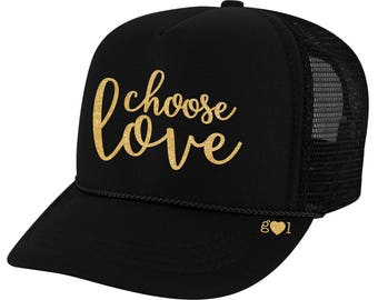 6a98f8c2588 choose love - glitter trucker hat (multiple colors)