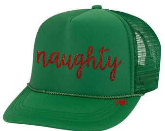 ab4e93eb062d0 NAUGHTY or NICE Holiday Hat - glitter trucker hat (multiple colors)