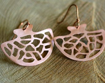 Cut out copper - ethnic style earrings