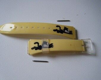 watch bracelet yellow pattern acrylic cat with clasps and fixings