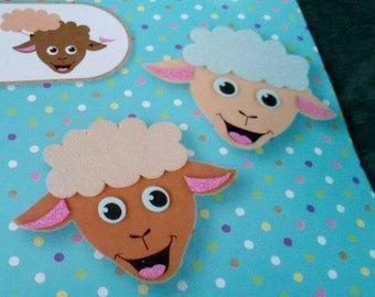 set of 2 sheep figurines foam to build and decorate 1 pink and 1 blue