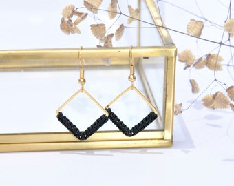 Macramé woven earrings with gold square prints in fine gold for women and girls