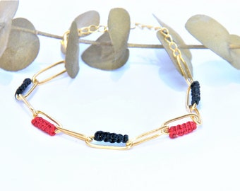 Double chain bracelet gold with fine gold and macramé weaving for women and girls