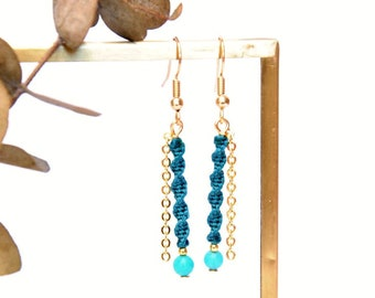 Macramé woven earrings with fine gold chain for women and girls