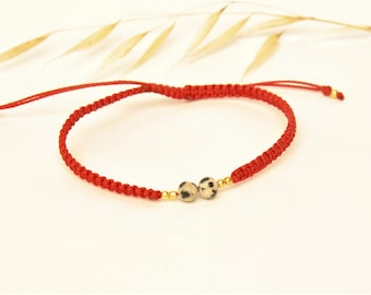 Macramé woven bracelet with semi precious and gold beads with fine gold for girls and women