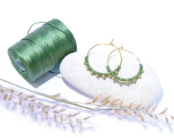 Fine gold and macramé creole earrings for women and girls