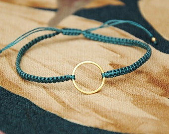 Fine gold and macramé gold ring bracelet for women and girls