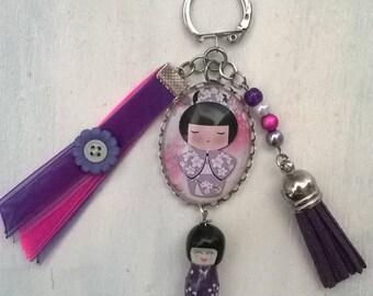 Japanese doll, bag charm Keyring