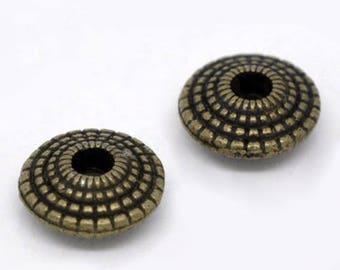 5 spacer beads 8mm Bronze