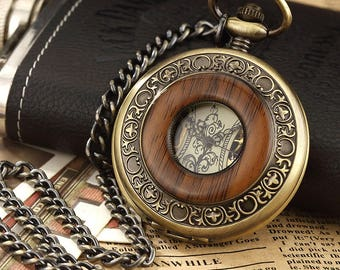 1 Pocket Watch Pocket Watch Bronze antique mechanical 50 mm stainless steel + chain within 15 days