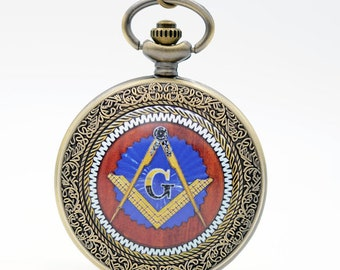 1 Pocket Watch Pocket Watch Bronze antique mechanical Franc Mason + within 15 days, mason watch chain