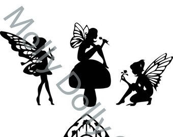 Fairy, Toadstool and Door SVG,EPS,DXF,Png