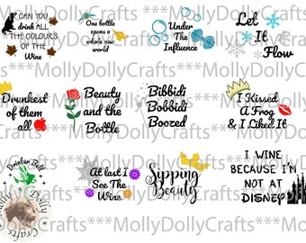 Drunk Princesses Inspired SVG DXF EPS Png Instant Download | Cutting File for Cricut and Silhouette | Wine Glass