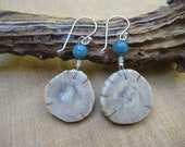 Antler Earrings Ethnic Jewelry Handmade, Dangle Earrings Natural Deer Antler and Blue Wooden Beads, Ivory Earrings for Summer, Unique Gifts