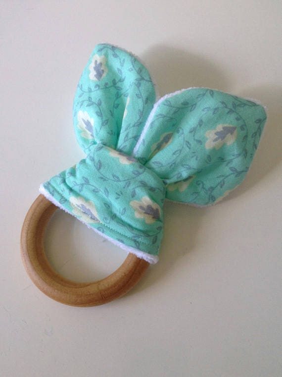 Bunny Ear Teether Wooden Teething Ring With Fabric Baby