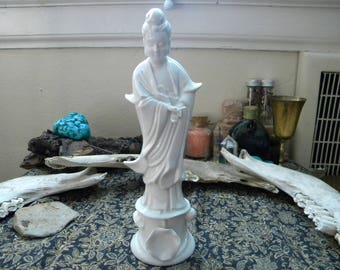 Vintage Quan Yin Stylized White Porcelain Statue Made in Japan