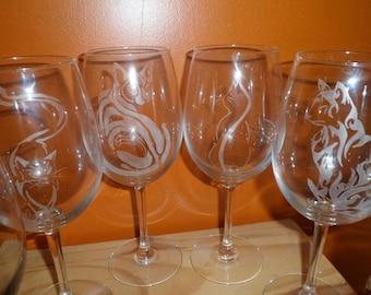 6 verres sur pied en gravure sur verre motif paon   Etsy