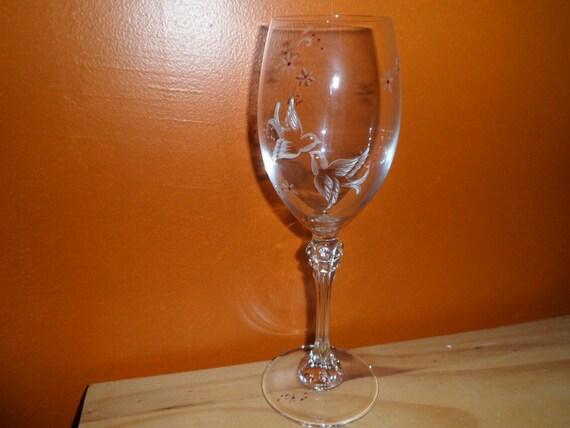 6 verres à vin gravé à la main motif oiseaux et fleurs personnalisables