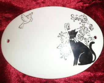 plate holder or villa cats and customizable bird plate