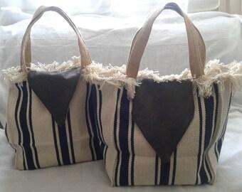 SALE 20% off until 06/28/2018 Navy striped beach bag