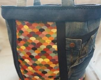 SALE 20% off until 28/06/2018 bag in denim and multicolored fabrics