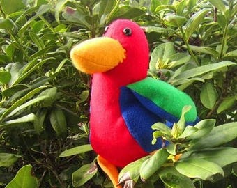 Plush - multicolored Parrot - kids room - plush - rag doll - handmade-
