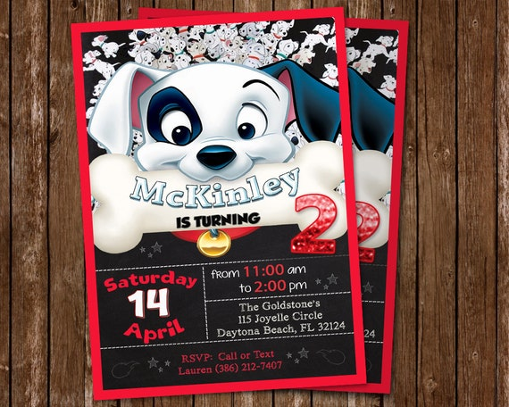 101 Dalmatians Invitation 101 Dalmatians Birthday Party Dogs Etsy