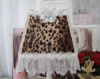 Feline spirit. LAMP shade shabby Boudoir decor, leopard, embroidered tulle fabric
