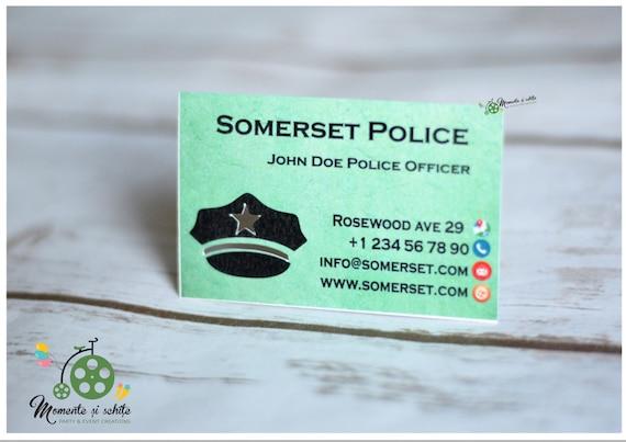 Officier De Police Carte Visite Coupe Etoile Interieur