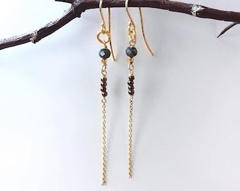 Hematite and faceted glass Earrings , 24 k Gold Plated Sterling silver, Helena design , gifts for Daughters , Danish design