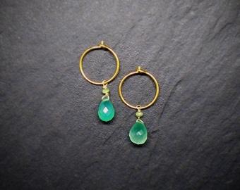 Chrysophrase Quarts on 24k gold plated 925 silver earrings , Helena Design, Danish design, Nordic design