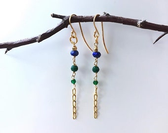 Lapis Lazuli and Agat Earrings , 24 k Gold Plated Sterling silver, Helena design , gifts for Daughters , Danish design