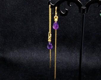 Amethyst Stones on 24k plated 925 silver ear threaders, Helena Design