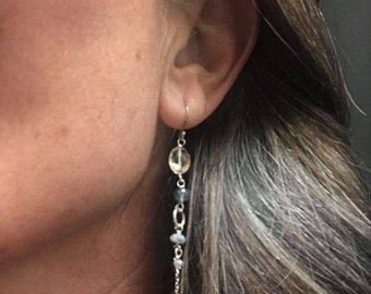 Citrine , Aquamarine and Sapphire 925 Silver earrings, Helena Design , Gifts for mothers , Gifts for daughters