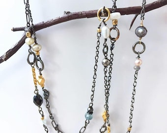 Necklace with Sapphire , Pyrite , Aquamarine , Hematite and Freshwater pearls on Oxidized Sterling silver , Helena design