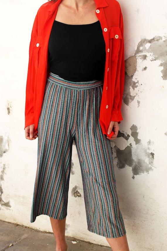 Vintage Stripe, Palazzo Pants, Wide Leg Pants, 90s