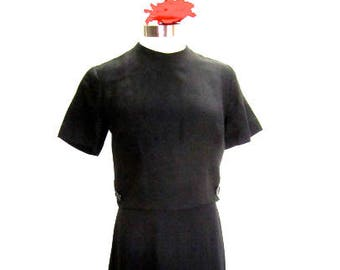 M 50s 60s Black Dress Linen Mid Century Modern Audrey Librarian Pleated Skirt Mad Men Day Night LBD Alyson Ayers Medium