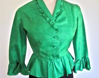 3127108cd659d4 S M 50s Silk Blouse Kelly Green Shirt Shantung 3/4 Sleeves Peplum Button  Down Frills 40s Small Medium